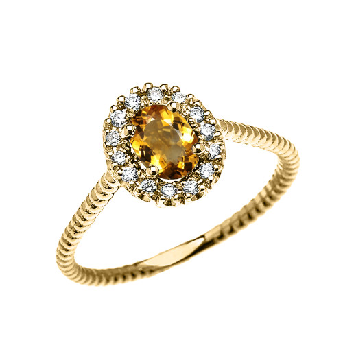 Yellow Gold Dainty Halo Diamond and Oval Citrine Solitaire Rope Design Engagement/Promise Ring
