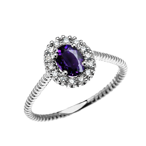 White Gold Dainty Halo Diamond and Oval Amethyst Solitaire Rope Design Engagement/Promise Ring
