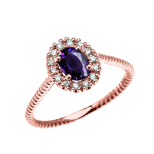 Rose Gold Dainty Halo Diamond and Oval Amethyst Solitaire Rope Design Engagement/Promise Ring
