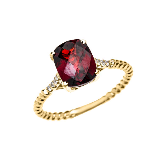Yellow Gold Dainty 2 Carat Garnet and Diamond Solitaire Rope Design Engagement Ring