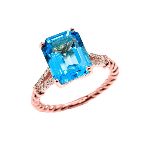 Rose Gold Dainty Emerald Cut Blue Topaz and Diamond Solitaire Rope Design Engagement/Promise Ring
