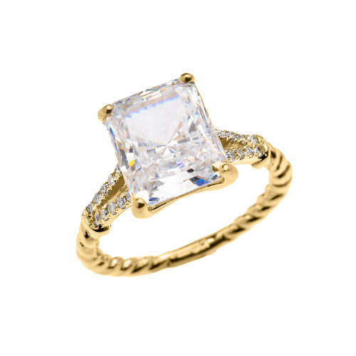 Yellow Gold Dainty Emerald Cut Cubic Zirconia and Diamond Solitaire Rope Design Engagement/Promise Ring