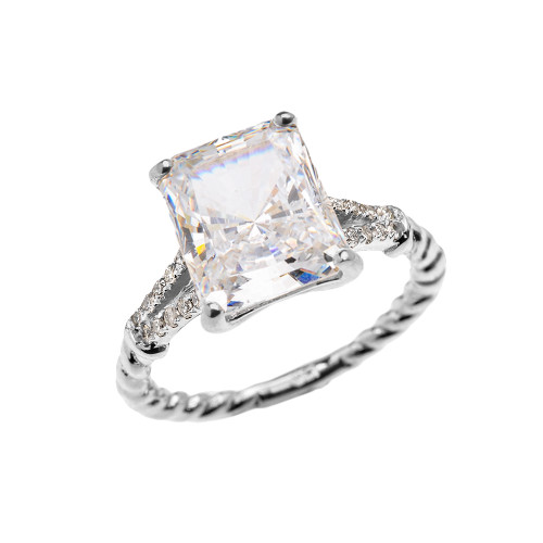 White Gold Dainty Emerald Cut Cubic Zirconia and Diamond Solitaire Rope Design Engagement/Promise Ring