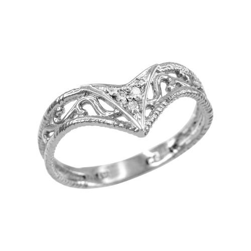 Fine White Gold Filigree Chevron Diamond Ring for Women