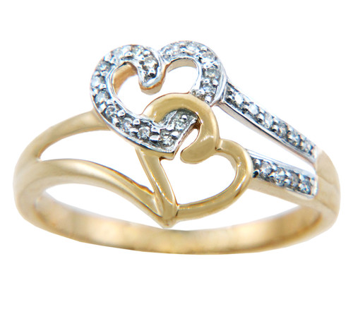 Ladies Rings - Two Tone Gold Joined Hearts with Diamonds Ring