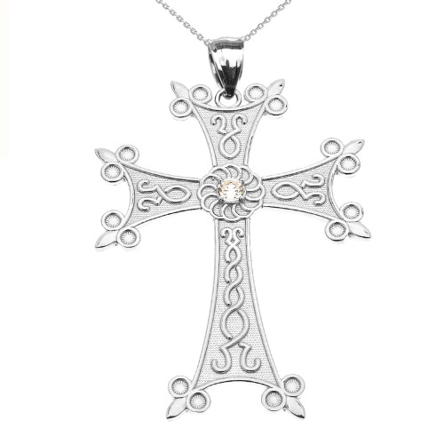 White Gold Elegant Armenian Cross with Eternity Diamond Pendant Necklace (Large)