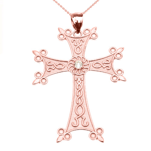 Rose Gold Elegant Armenian Cross with Eternity Diamond Pendant Necklace (Large)