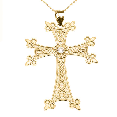 Yellow Gold Elegant Armenian Cross with Eternity Cubic Zirconia  Pendant Necklace (Large)