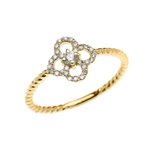 Yellow Gold Dainty Four Leaf Clover Good Luck Diamond Solitaire Rope Design Ring