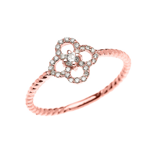Rose Gold Dainty Four Leaf Clover Good Luck Diamond Solitaire Rope Design Ring
