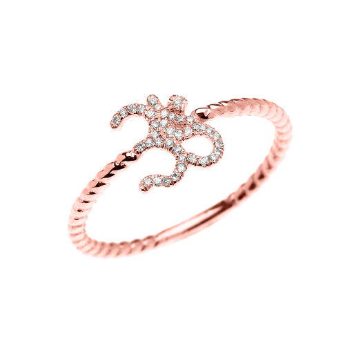 Rose Gold Dainty Diamond OHM (OM) Ganesh Rope Design Ring