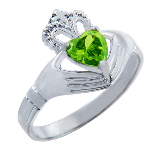 Silver Claddagh Band Ring with Peridot CZ Heart