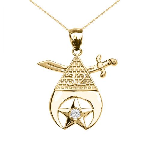 Yellow Gold Shriners Freemason Masonic Diamond Pendant Necklace
