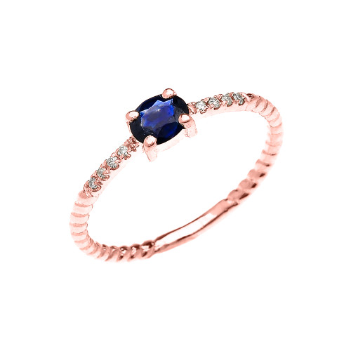 Rose Gold Dainty Solitaire Oval Sapphire and Diamond Rope Design Engagement/Promise Ring