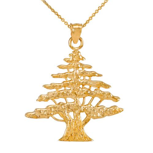 Yellow Gold Lebanese Cedar Tree Pendant Necklace