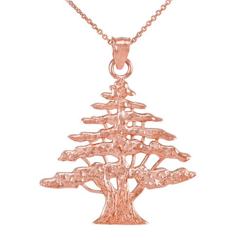 Rose Gold Lebanese Cedar Tree Pendant Necklace