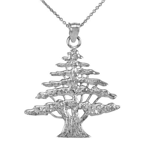 925 Sterling Silver Lebanese Cedar Tree Pendant Necklace