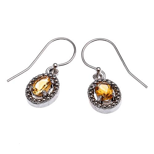 Sterling Silver Oval Citrine Dangling Earrings