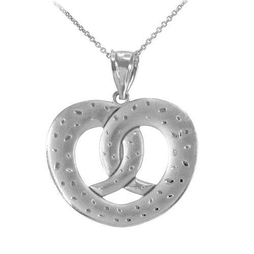 White Gold Love Heart Pretzel Pendant Necklace