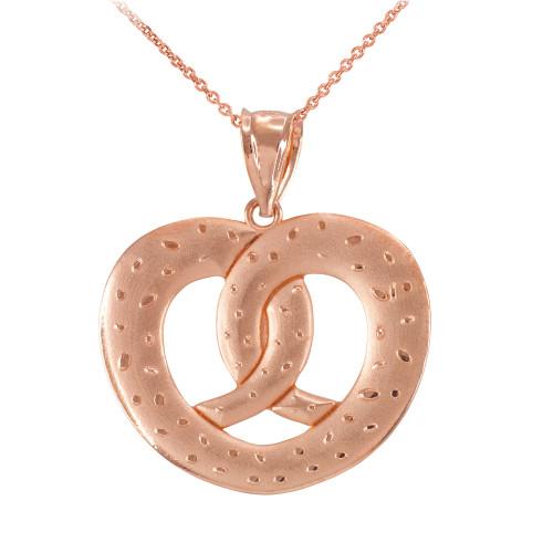 Rose Gold Love Heart Pretzel Pendant Necklace