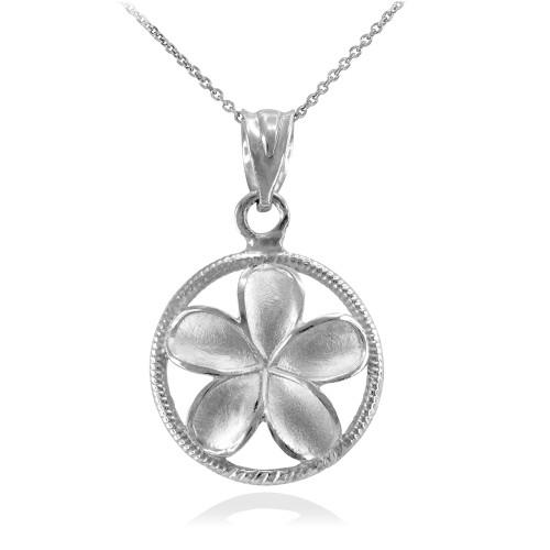 White Gold Roped Circle Hawaiian Plumeria Flower Charm Pendant Necklace