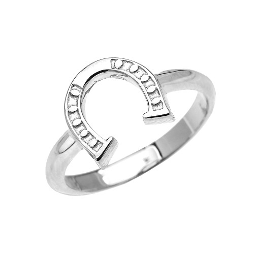 White Gold Dainty Horse Shoe Good Luck Ladies Ring