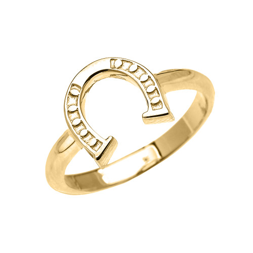 Yellow Gold Dainty Horse Shoe Good Luck Ladies Ring