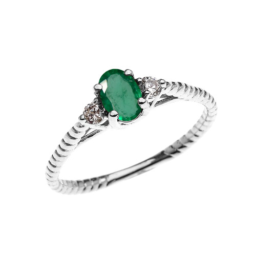 Dainty White Gold Emerald Solitaire Rope Design Engagement/Promise Ring