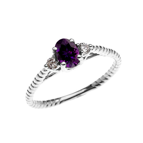 Dainty White Gold Amethyst Solitaire Rope Design Engagement/Promise Ring
