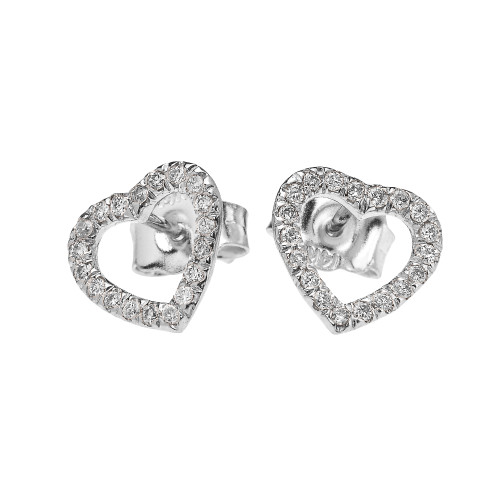 White Gold Elegant Open Heart Diamond Stud Earring