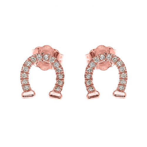 Rose Gold Horse Shoe Good Luck Diamond Stud Earrings