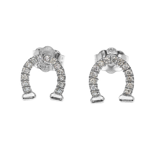 White Gold Horse Shoe Good Luck Diamond Stud Earrings