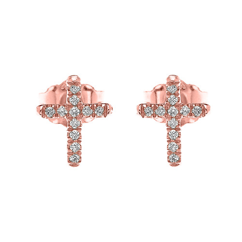 Rose Gold Elegant Cross Diamond Stud Earrings