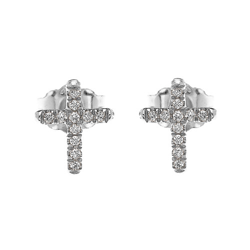 White Gold Elegant Cross Diamond Stud Earrings