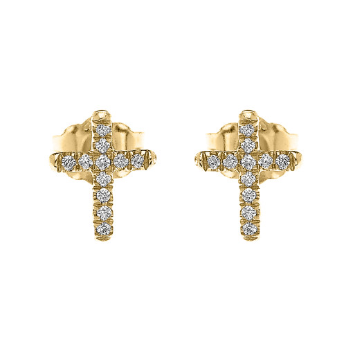 Yellow Gold Elegant Cross Diamond Stud Earrings