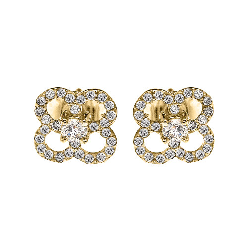 Yellow Gold Elegant 4 Leaf Clover Diamond Stud Earrings