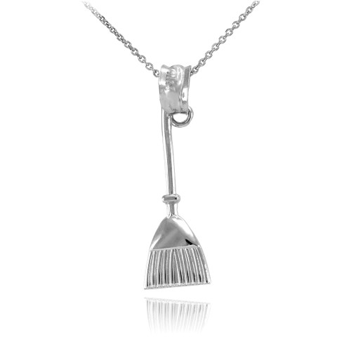 Sterling Silver Broom Stick Charm Necklace