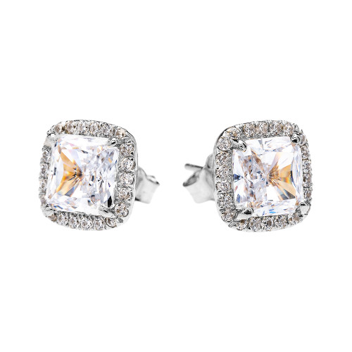 White Gold Elegant Diamond Halo Solitaire Princess Cut Cubic Zirconia Stud Earrings