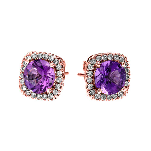 Rose Gold Elegant Diamond Cushion Halo Solitaire Amethyst Stud Earrings