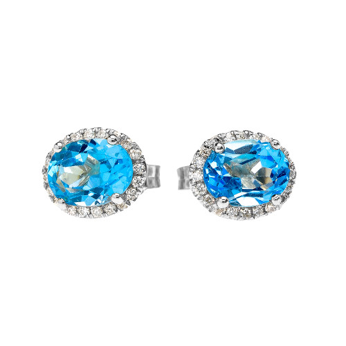 White Gold Elegant Diamond Oval Halo Solitaire Blue Topaz Stud Earrings