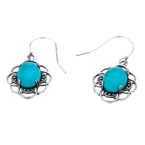 Sterling Silver Oval Amazonite Dangling Earrings
