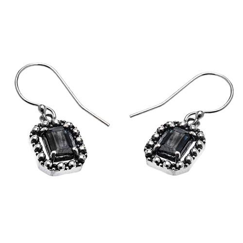 Sterling Silver Emerald cut Midnight Black Sapphire Dangling Earrings