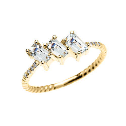 Dainty Yellow Gold Three Stone Emerald Cut Aquamarine and Diamond Rope Design Engagement/Promise Ring