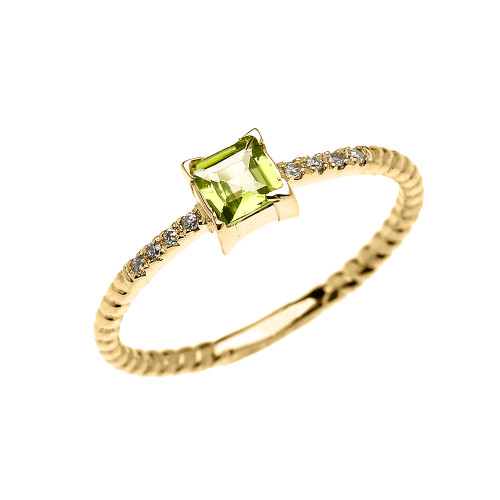 Dainty Yellow Gold Solitaire Princess Cut Peridot and Diamond Rope Design Engagement/Promise Ring
