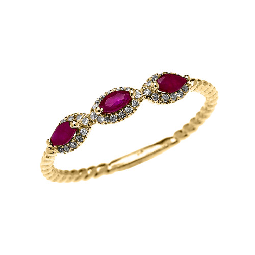 Yellow Gold Dainty Three Stone Marquise Ruby and Halo Diamond Rope Design Engagement/Promise Ring