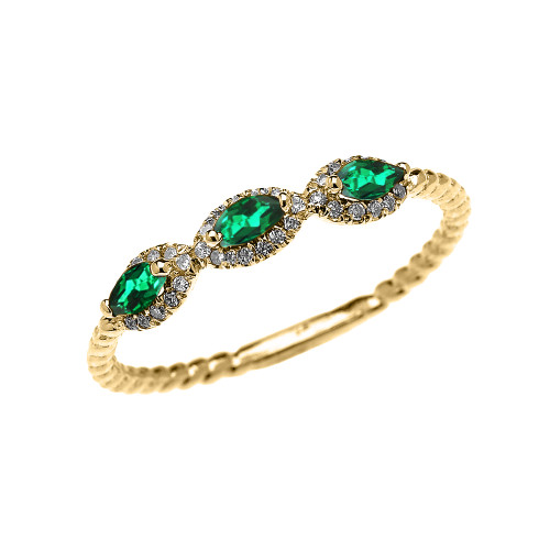 Yellow Gold Dainty Three Stone Marquise Emerald Rope Diamond Promise Ring