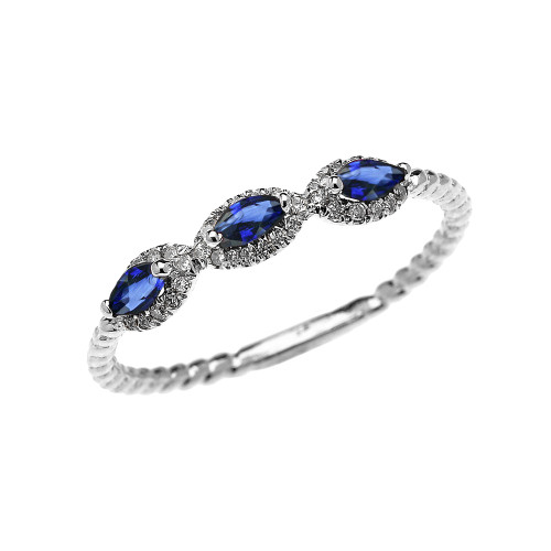 White Gold Dainty Three Stone Marquise Blue Sapphire and Halo Diamond Rope Design Engagement/Promise Ring