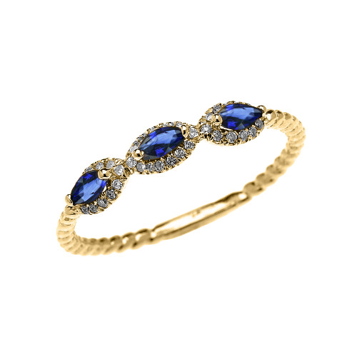 Yellow Gold Dainty Three Stone Marquise Blue Sapphire and Halo Diamond Rope Design Engagement/Promise Ring