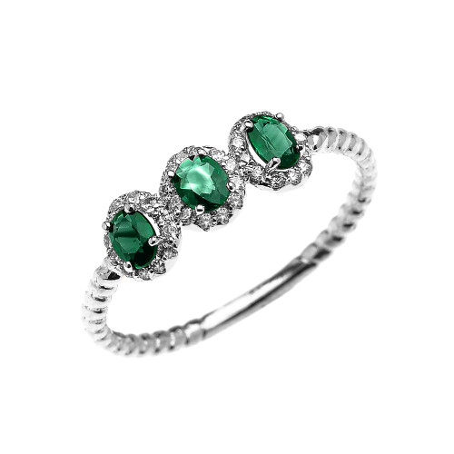 White Gold Dainty Three Stone Emerald Rope Diamond Promise Ring