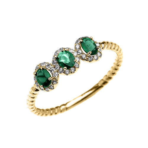 Yellow Gold Dainty Three Stone Emerald Rope Diamond Promise Ring